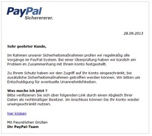 Aktuelle Paypal Phishing Mail