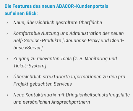Feature-Liste ADACOR Kundenportal