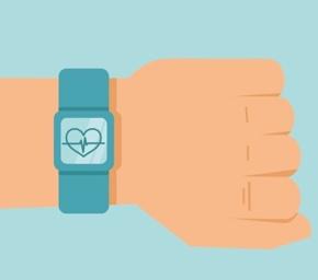 Arm mit Uhr und Gesundheitsapp