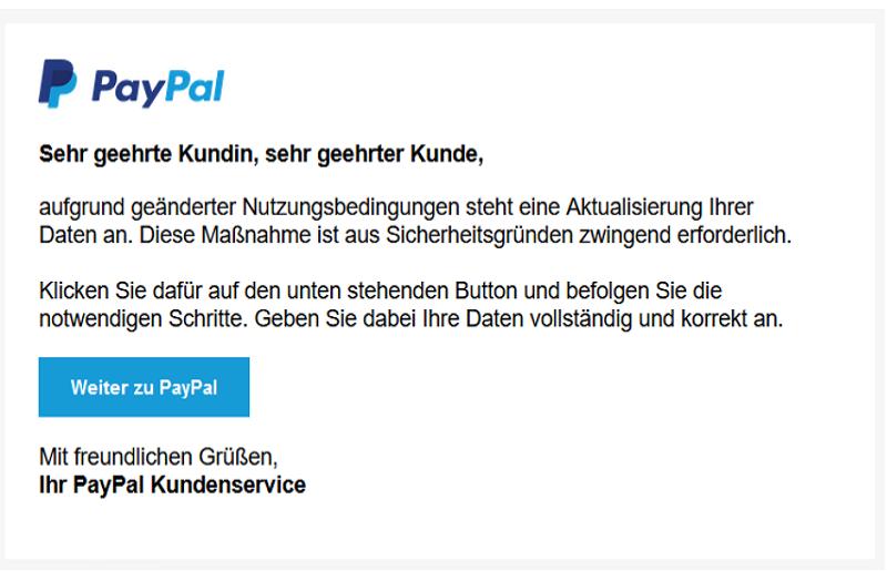Phishing Mail Beispiel