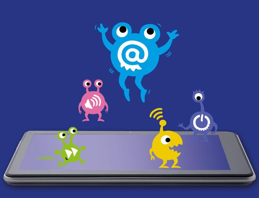 Monster hüpfen auf Smartphone