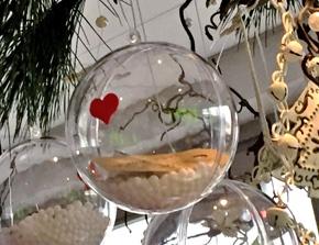 Transparente Kugel am Weihnachtsbaumzweig