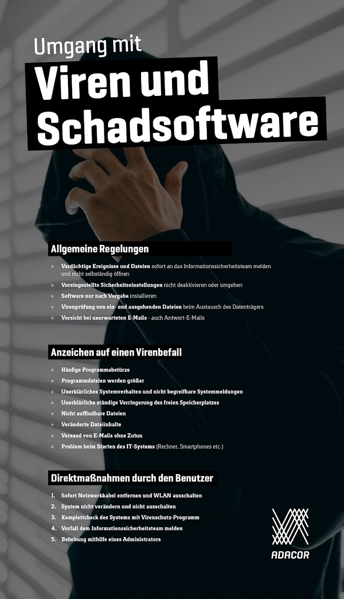 Infografik Umgang mitInfografik Viren und Schadsoftware